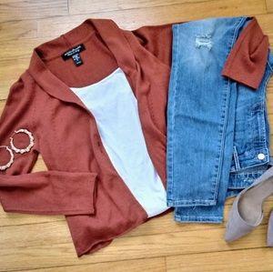 Cardigan Sweater Rust Fall Med